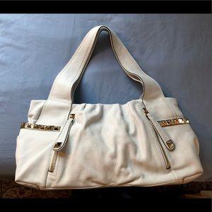 B Makowsky Sydney White Leather shoulder Handbag